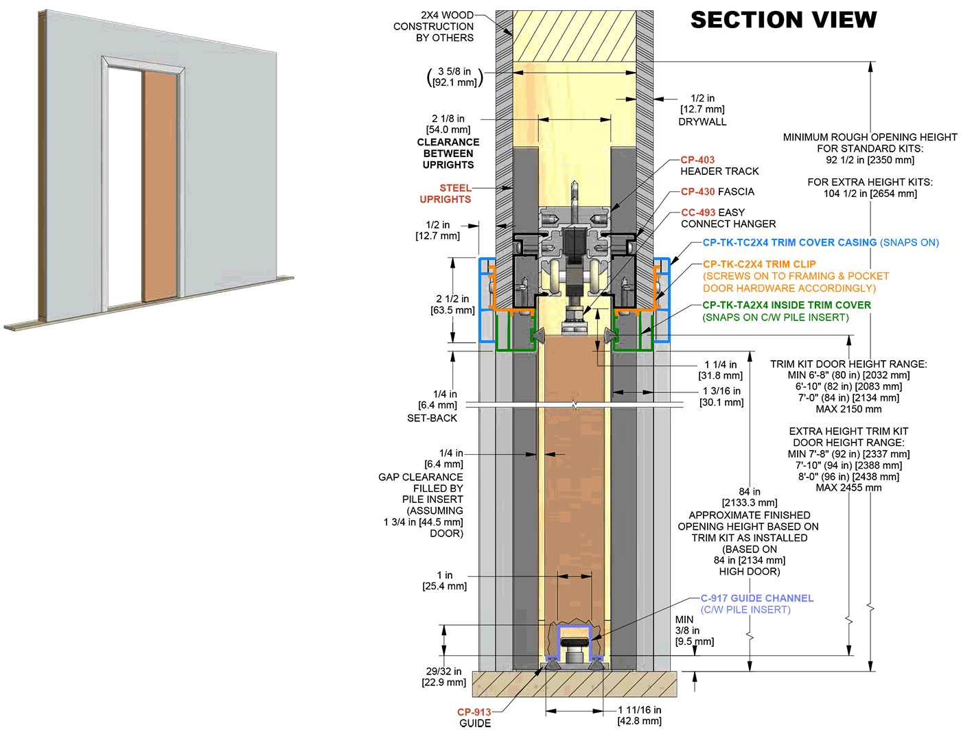 Pocket Door Sizes Overhead Door Cad Details Btca Pocket