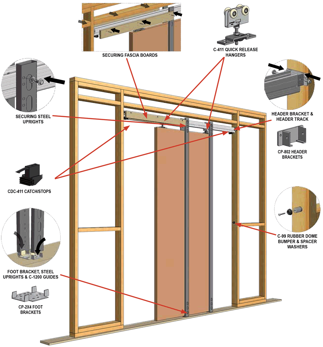 how the pocket door comes together